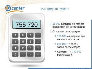 РФ: кому он нужен? 755 720 18 000 доменов по итогам приоритетной регистрации Отк