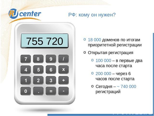 РФ: кому он нужен? 755 720 18 000 доменов по итогам приоритетной регистрации Открытая регистрация 100 000 – в первые два часа после старта 200 000 – через 6 часов после старта Сегодня – ~ 740 000 регистраций