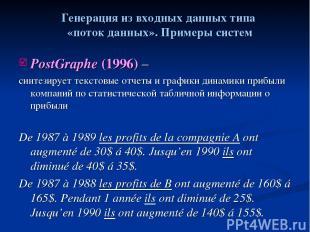 PostGraphe (1996) – синтезирует текстовые отчеты и графики динамики прибыли комп