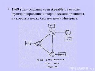 1969 год - создание сети ApraNet, в основе функционирования которой лежали принц