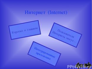 Интернет (Internet) Пользователи Интернета могут… Интегрированные приложения Кор