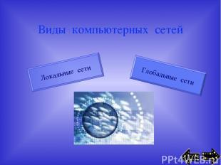 Виды компьютерных сетей Локальные сети Глобальные сети