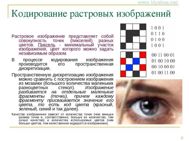 Кодирование растровых изображений Растровое изображение представляет собой совокупность точек (пикселей) разных цветов. Пиксель - минимальный участок изображения, цвет которого можно задать независимым образом. В процессе кодирования изображения про…