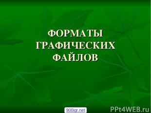 ФОРМАТЫ ГРАФИЧЕСКИХ ФАЙЛОВ 900igr.net
