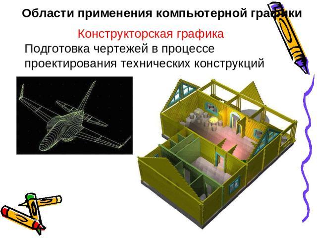 Области применения компьютерной графики Конструкторская графика Подготовка чертежей в процессе проектирования технических конструкций