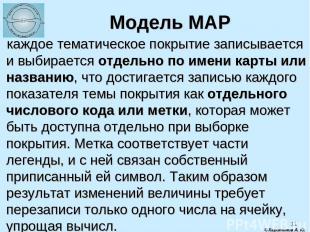 * Модель MAP каждое тематическое покрытие записывается и выбирается отдельно по