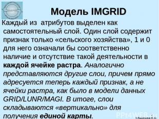 * Модель IMGRID Каждый из атрибутов выделен как самостоятельный слой. Один слой