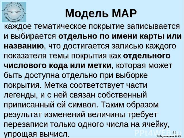 * Модель MAP каждое тематическое покрытие записывается и выбирается отдельно по имени карты или названию, что достигается записью каждого показателя темы покрытия как отдельного числового кода или метки, которая может быть доступна отдельно при выбо…