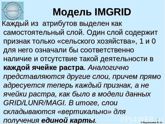 * Модель IMGRID Каждый из атрибутов выделен как самостоятельный слой. Один слой содержит признак только «сельского хозяйства», 1 и 0 для него означали бы соответственно наличие и отсутствие такой деятельности в каждой ячейке растра. Аналогично предс…