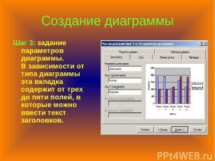 Создание диаграммы Шаг 3: задание параметров диаграммы. В зависимости от типа ди