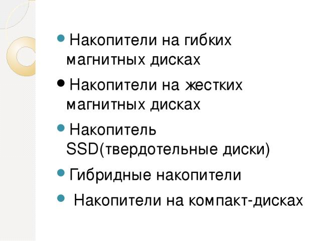 Накопители на гибких магнитных дисках Накопители на жестких магнитных дисках Накопитель SSD(твердотельные диски) Гибридные накопители Накопители на компакт-дисках