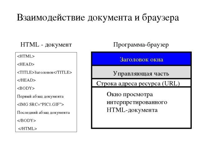 Заголовок Первый абзац документа Последний абзац документа HTML - документ Программа-браузер Управляющая часть Окно просмотра интерпретированного HTML-документа Заголовок окна Строка адреса ресурса (URL) Взаимодействие документа и браузера