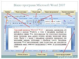 Вікно програми Microsoft Word 2007 Рядок заголовка Лінійки Рядок меню Панелі інс