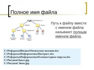 Полное имя файла Путь к файлу вместе с именем файла называют полным именем файла
