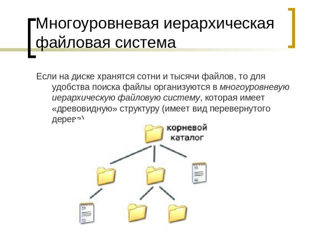Многоуровневая иерархическая файловая система Если на диске хранятся сотни и тысячи файлов, то для удобства поиска файлы организуются в многоуровневую иерархическую файловую систему, которая имеет «древовидную» структуру (имеет вид перевернутого дерева).