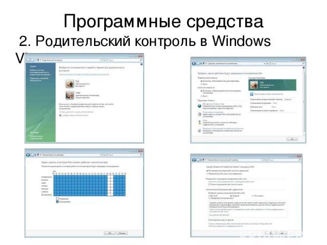 Программные средства 2. Родительский контроль в Windows Vista.