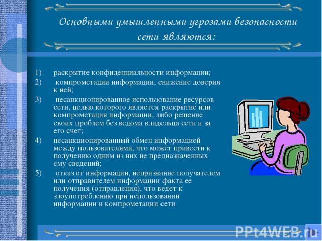 Основными умышленными угрозами безопасности сети являются: раскрытие конфиденциальности информации; компрометации информации, снижение доверия к ней; несанкционированное использование ресурсов сети, целью которого является раскрытие или компрометаци…