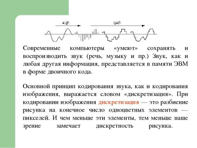 Современные компьютеры «умеют» сохранять и воспроизводить звук (речь, музыку и пр.) Звук, как и любая другая информация, представляется в памяти ЭВМ в форме двоичного кода. Основной принцип кодирования звука, как и кодирования изображения, выражаетс…