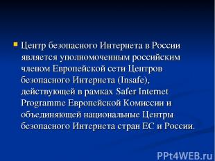 Центр безопасного Интернета в России является уполномоченным российским членом Е