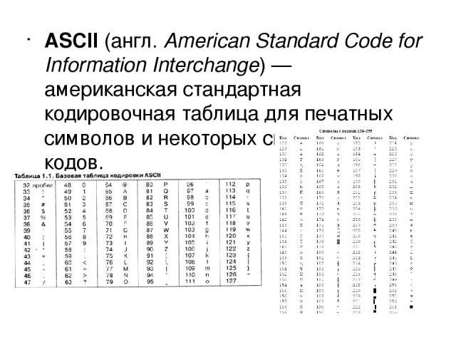 ASCII (англ.American Standard Code for Information Interchange)— американская стандартная кодировочная таблица для печатных символов и некоторых специальных кодов.