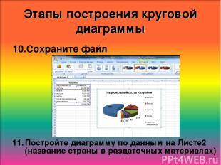 Этапы построения круговой диаграммы Сохраните файл Постройте диаграмму по данным