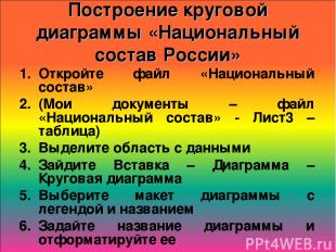 Построение круговой диаграммы «Национальный состав России» Откройте файл «Национ