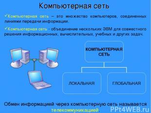 Компьютерная сеть – это множество компьютеров, соединенных линиями передачи инфо