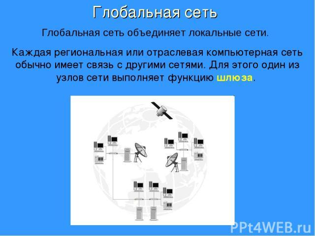 Каждая региональная или отраслевая компьютерная сеть обычно имеет связь с другими сетями. Для этого один из узлов сети выполняет функцию шлюза. Глобальная сеть Глобальная сеть объединяет локальные сети.