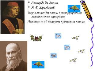 Леонардо да Винчи Н. Е. Жуковский Изучали полёт птиц, конструировали летательные