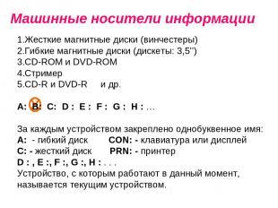 Машинные носители информации Жесткие магнитные диски (винчестеры) Гибкие магнитн