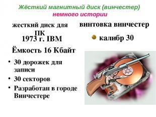Жёсткий магнитный диск (винчестер) немного истории 30 дорожек для записи 30 сект