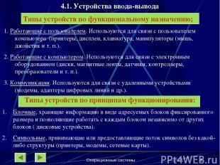 Операционные системы * 4.1. Устройства ввода-вывода Типы устройств по функционал