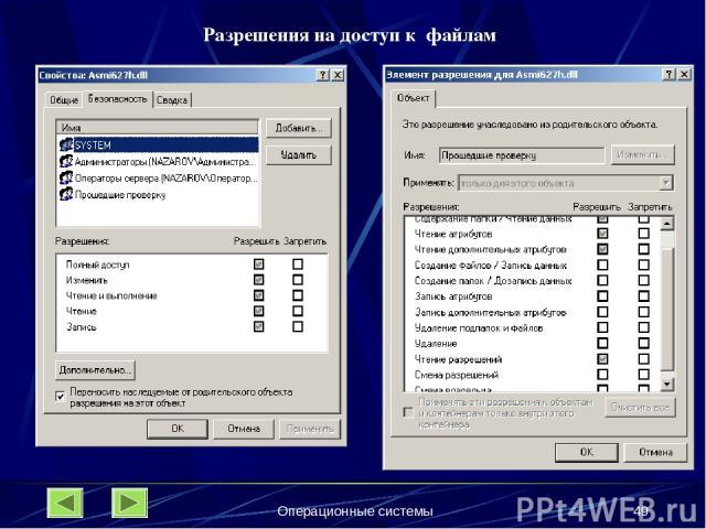 Операционные системы * Разрешения на доступ к файлам Операционные системы