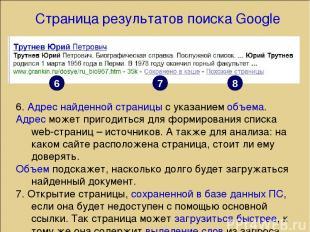 Страница результатов поиска Google 6. Адрес найденной страницы с указанием объем