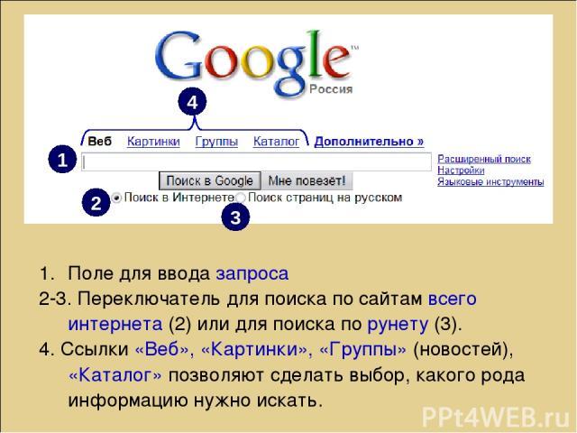 Поле для ввода запроса 2-3. Переключатель для поиска по сайтам всего интернета (2) или для поиска по рунету (3). 4. Ссылки «Веб», «Картинки», «Группы» (новостей), «Каталог» позволяют сделать выбор, какого рода информацию нужно искать. 1 2 3 4