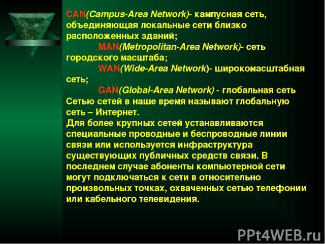 CAN(Campus-Area Network)- кампусная сеть, объединяющая локальные сети близко расположенных зданий; MAN(Metropolitan-Area Network)- сеть городского масштаба; WAN(Wide-Area Network)- широкомасштабная сеть; GAN(Global-Area Network) - глобальная сеть Се…