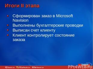Итоги II этапа Сформирован заказ в Microsoft Navision Выполнены бухгалтерские пр