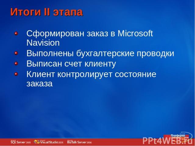 Итоги II этапа Сформирован заказ в Microsoft Navision Выполнены бухгалтерские проводки Выписан счет клиенту Клиент контролирует состояние заказа