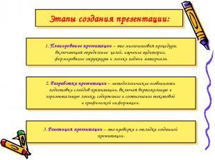 Этапы создания презентации: 2. Разработка презентации – методологические особенн