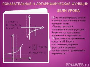 Систематизировать знания и умения, полученные в ходе изучения темы: «Показательн