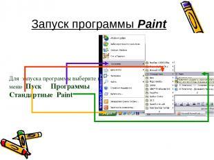 Запуск программы Paint Для запуска программы выберите в меню Пуск Программы Стан