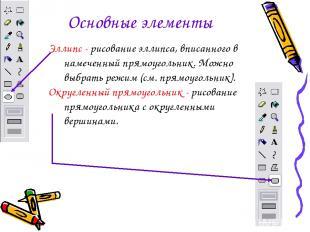 Основные элементы Эллипс - рисование эллипса, вписанного в намеченный прямоуголь