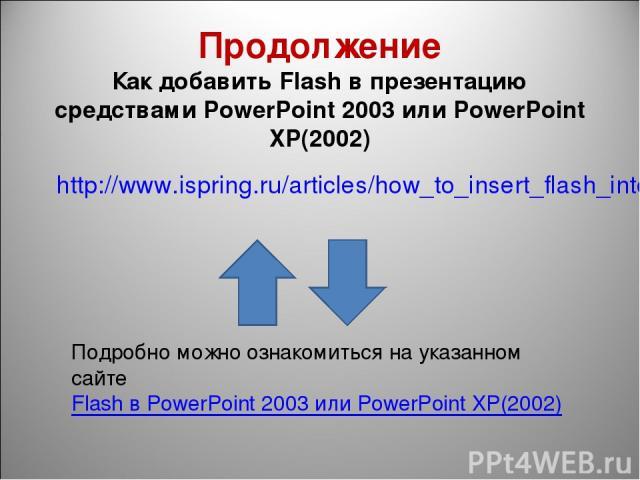 Продолжение Как добавить Flash в презентацию средствами PowerPoint 2003 или PowerPoint XP(2002) http://www.ispring.ru/articles/how_to_insert_flash_into_powerpoint_2003.html Подробно можно ознакомиться на указанном сайте Flash в PowerPoint 2003 или P…