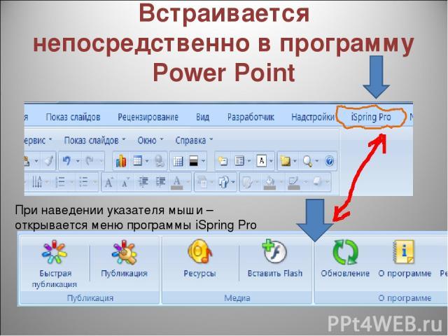 Встраивается непосредственно в программу Power Point При наведении указателя мыши – открывается меню программы iSpring Pro