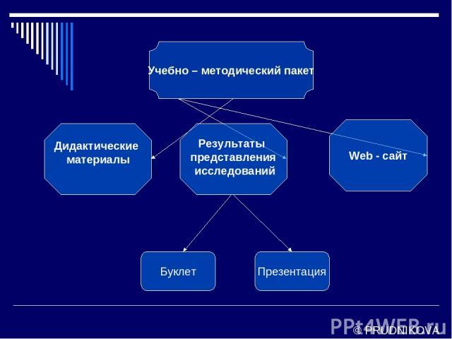 Учебно – методический пакет Дидактические материалы Web - сайт Буклет Презентация Результаты представления исследований © PRUDNIKOVA