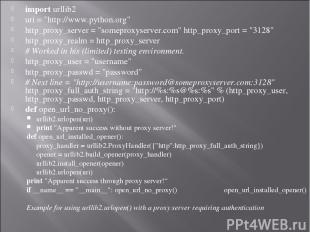 "import urllib2   uri = ""http://www.python.org"" http_proxy_server = ""someproxyser"