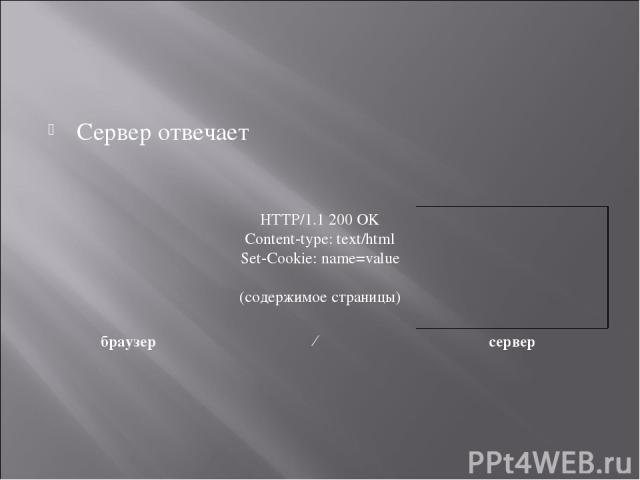 Сервер отвечает HTTP/1.1 200 OK Content-type: text/html Set-Cookie: name=value  (содержимое страницы) браузер ← сервер
