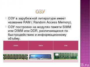 ОЗУ в зарубежной литературе имеет название RAM ( Random Access Memory). ОЗУ пост