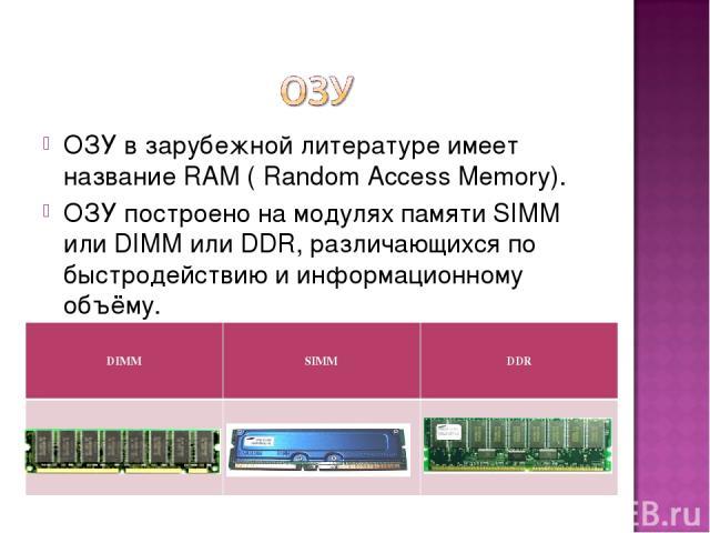 ОЗУ в зарубежной литературе имеет название RAM ( Random Access Memory). ОЗУ построено на модулях памяти SIMM или DIMM или DDR, различающихся по быстродействию и информационному объёму.  DIMM SIMM DDR