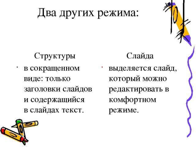 Карандаш - делать пометки: что-то подчеркивать, обводить и т. д. После демонстрации след карандаша пропадает, и он не портит презентацию; Указатель - спрятать стрелку-указатель на некоторое время, или убрать ее совсем, или изменить цвет карандаша; Э…